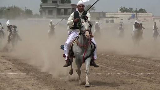 動画:伝統の馬術競技「テントペギング」、パキスタンでギネス記録狙う