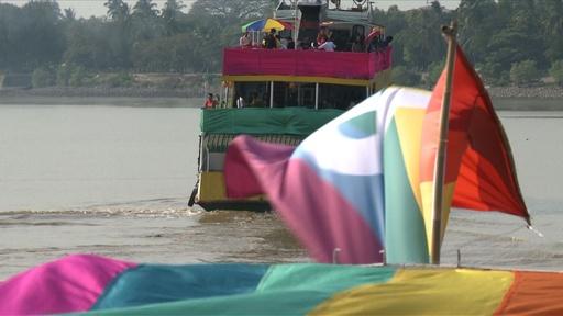 動画:ミャンマーでLGBTの祭典、川でパレード 国内初