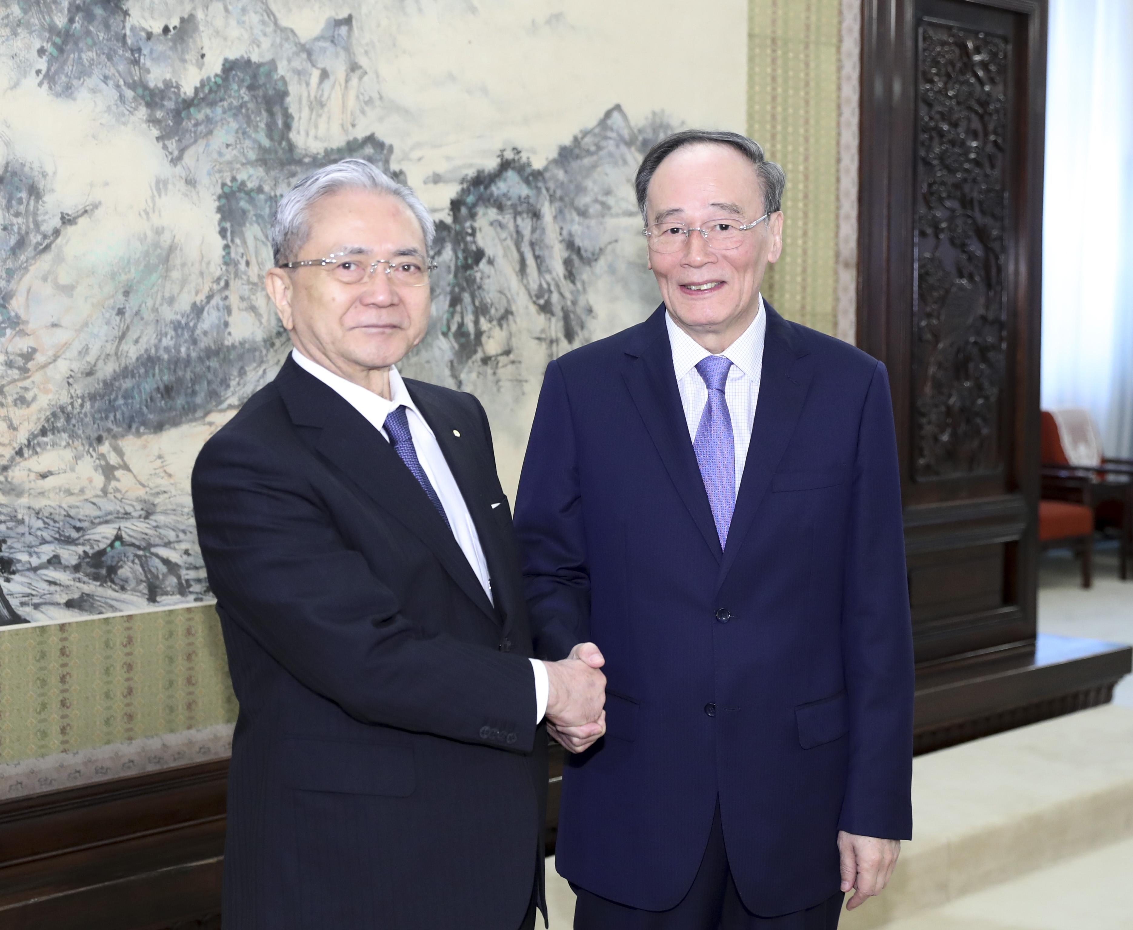 天皇即位式典出席の王岐山副主席、日本の指導者と会見へ
