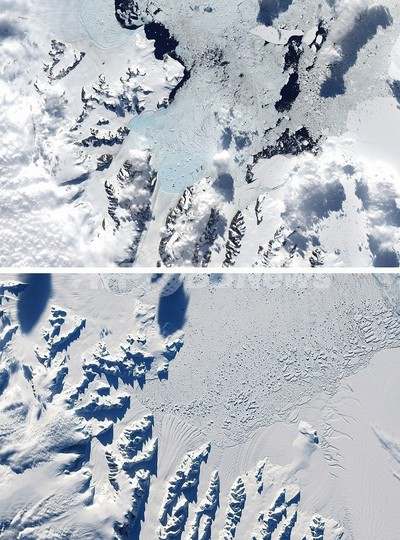 南極半島のラーセンB棚氷、17年で85%縮小