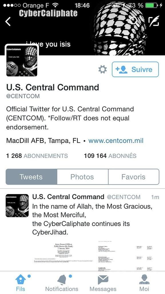 イスラム国の同調者か、米中央軍のツイッターを乗っ取り