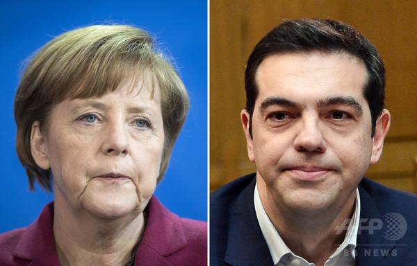 ギリシャとドイツの首相が初顔合わせ、EU首脳会議 一致点を模索