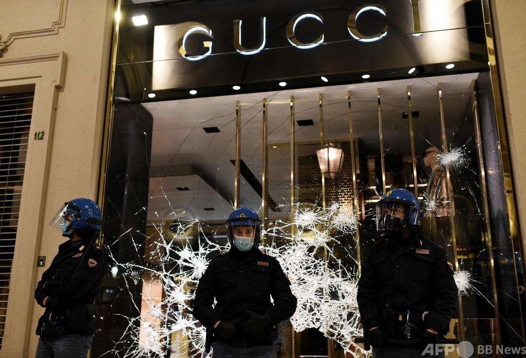 イタリアでデモ隊と警察が衝突、新型コロナ規制に反発