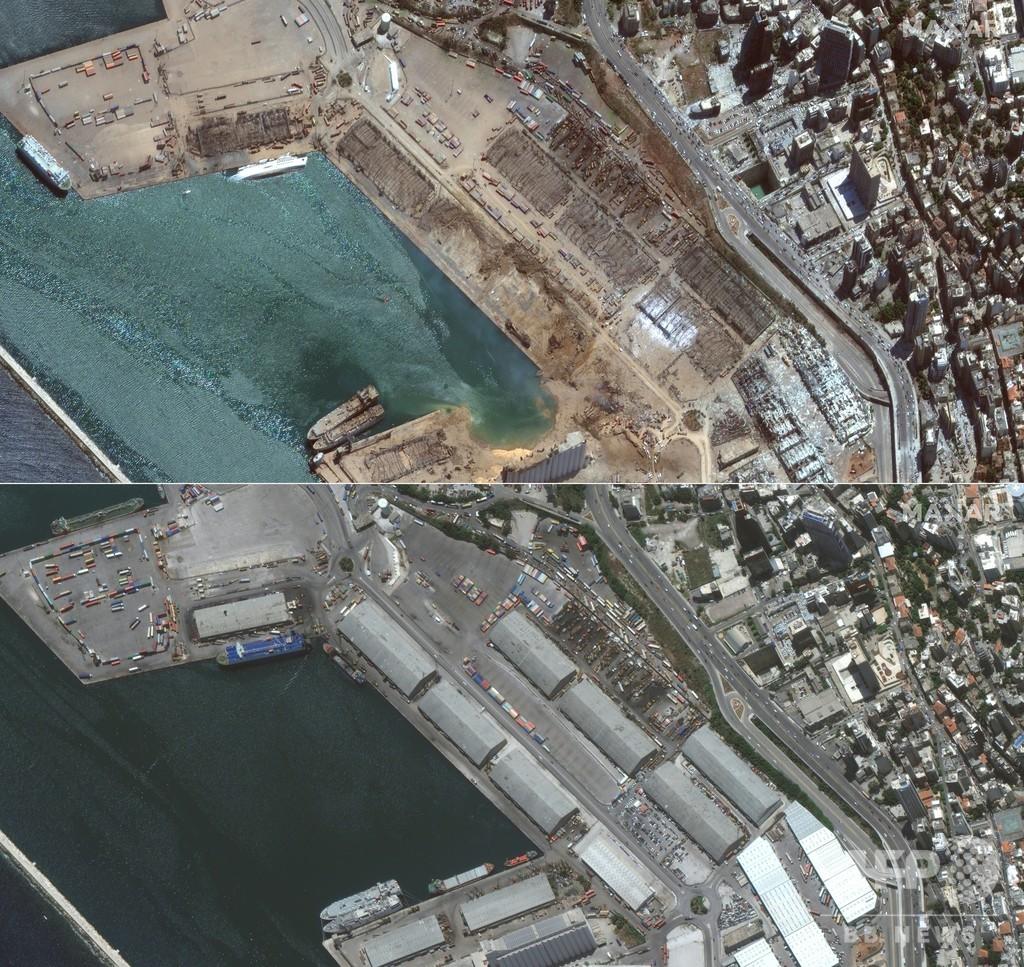 レバノン首都、爆発前後の現場を写真で比較