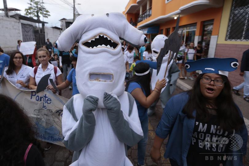 サメ密漁をやめろ! 中国船の拿捕受けてガラパゴス諸島でデモ