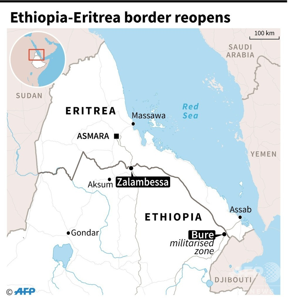 エチオピアとエリトリア、20年ぶり国境往来再開