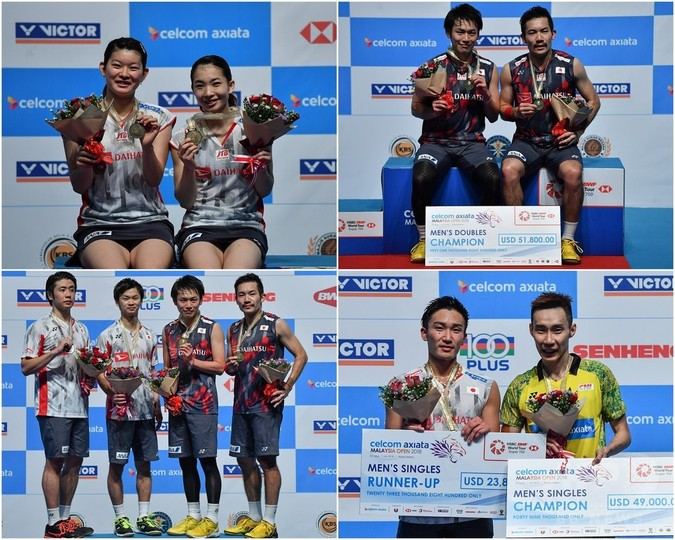 女子複と男子複で日本勢がタイトル、桃田は準優勝 マレーシアOP