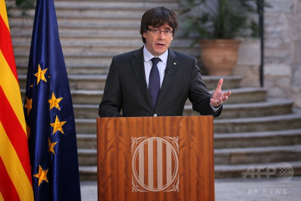 カタルーニャのプチデモン氏が演説、住民に「民主的な抵抗」促す