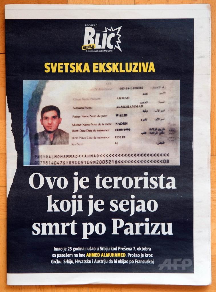 パリ自爆現場のシリア旅券は偽造か、セルビアでも発見