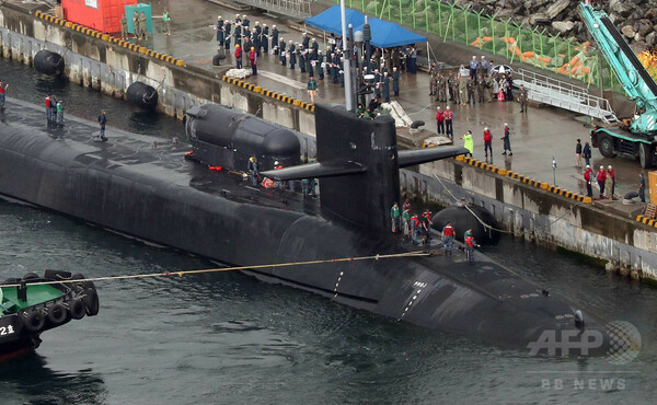 米の原子力潜水艦ミシガン、韓国・釜山に入港