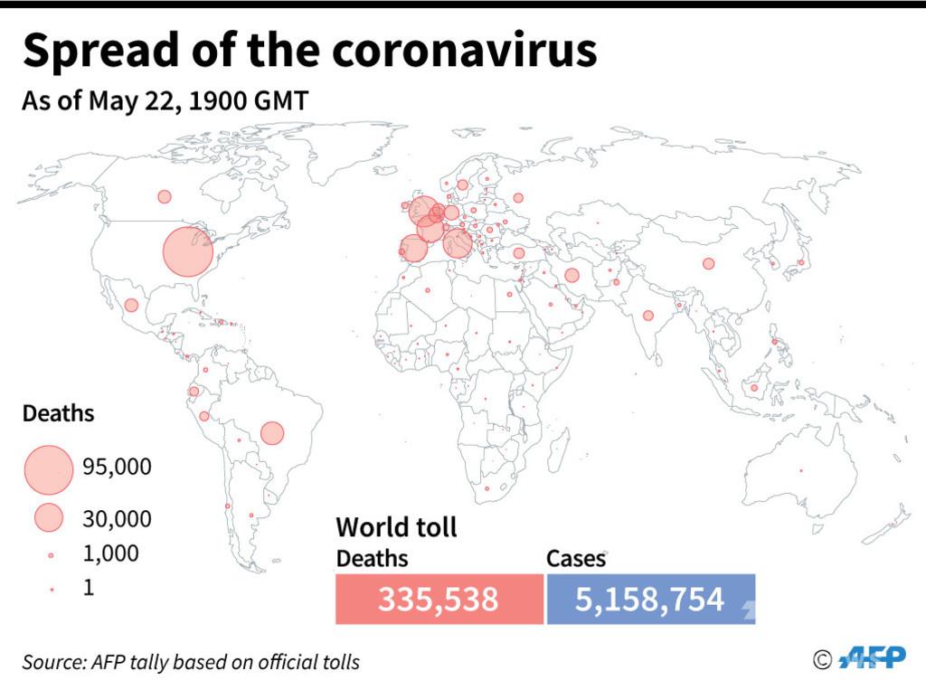 新型コロナウイルス、現在の感染者・死者数(23日午前4時時点) 死者33.5万人に