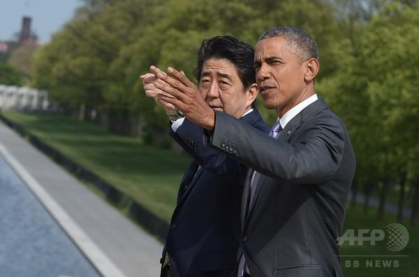 安倍首相、オバマ大統領とリンカーン記念館をサプライズ訪問