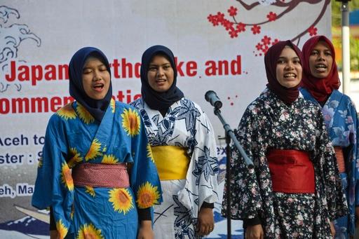 東日本大震災8年 インドネシア津波博物館の行事に地元生徒が着物姿で出席