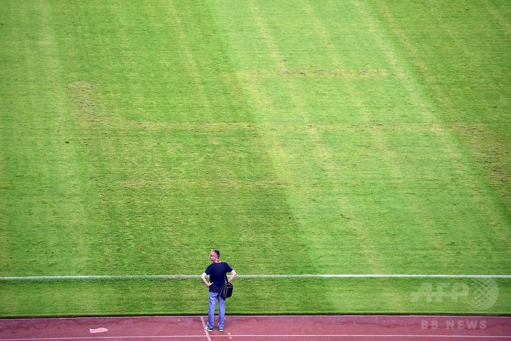 ピッチ上にかぎ十字―欧州選手権予選が行われたクロアチアのスタジアム