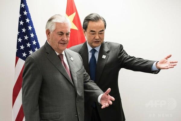 米国務長官、中国外相と初会談 北朝鮮への対応求める