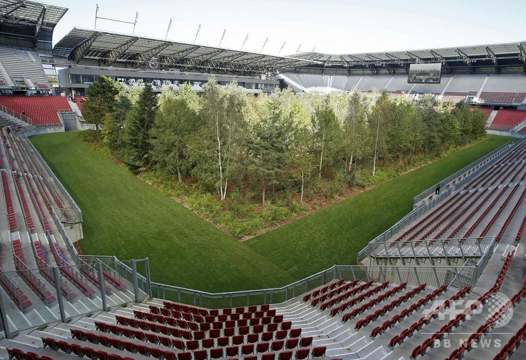 サッカー場が森に オーストリアで期間限定アート