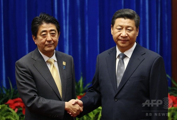 3年ぶり日中首脳会談、「関係改善へ第一歩」と安倍首相