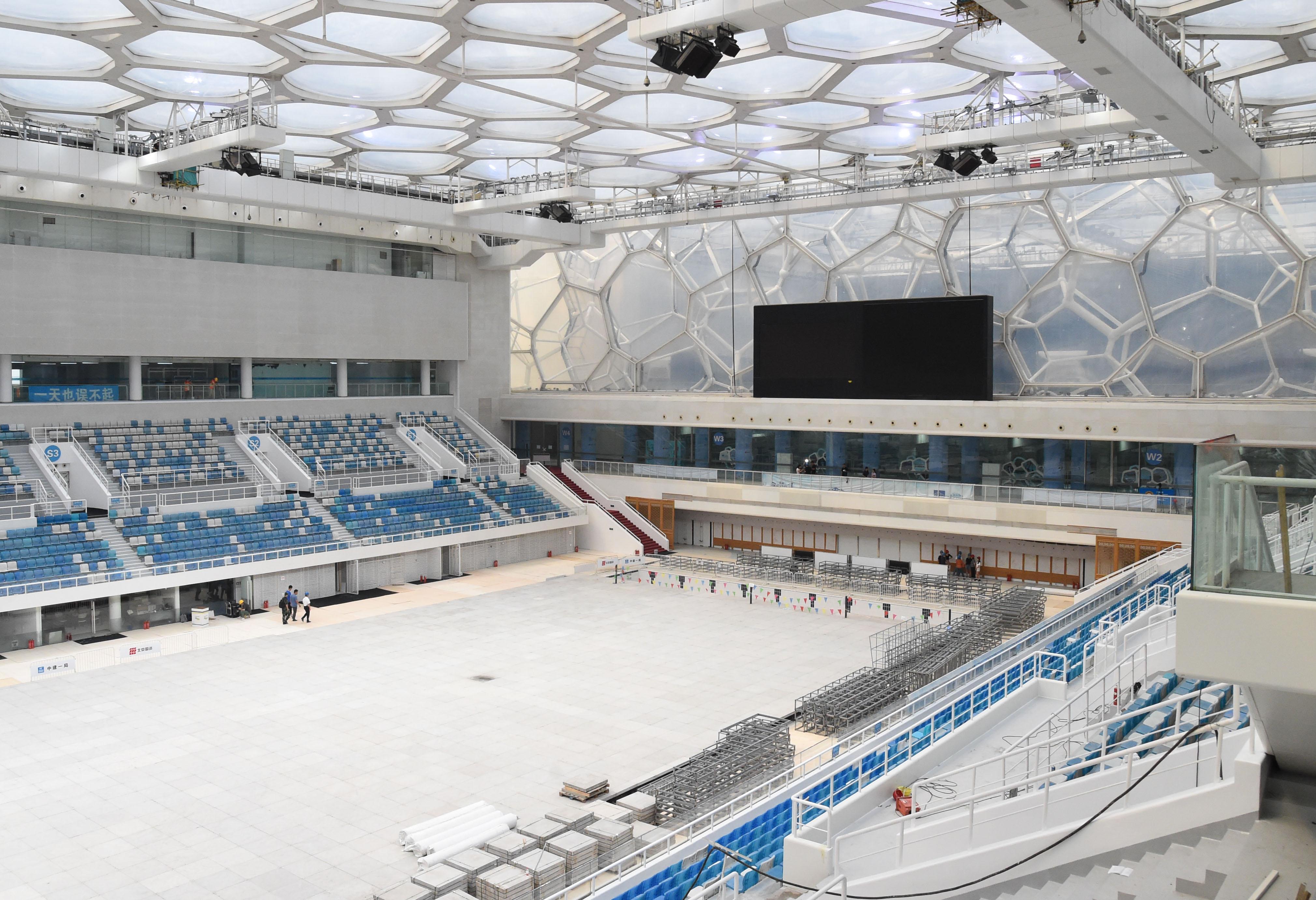 国家水泳センター、プールからスケートリンクへの改造工事が完了