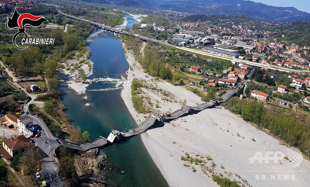 イタリアで長さ300メートルの橋崩落、1人負傷