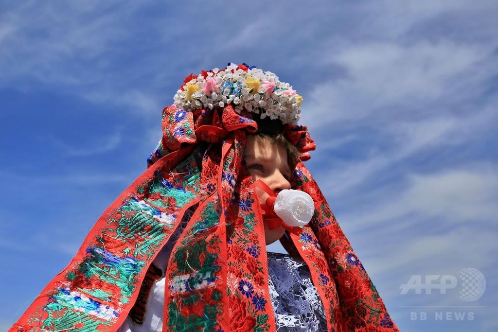 華やかな民族衣装で騎馬行列、チェコの伝統行事「王様騎行」