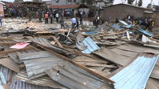 動画:小学校倒壊で児童7人死亡、60人近くが負傷 ケニア 現場の映像