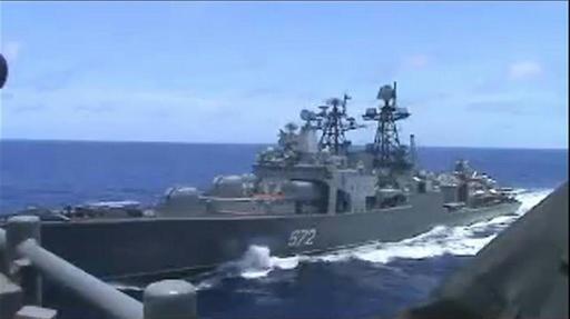 動画:米ロ海軍が非難の応酬、東シナ海で軍艦同士が「衝突寸前」