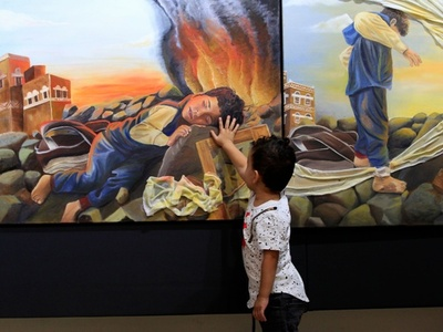 「全人類へのメッセージ」、内戦犠牲者を描いた展覧会 イエメン