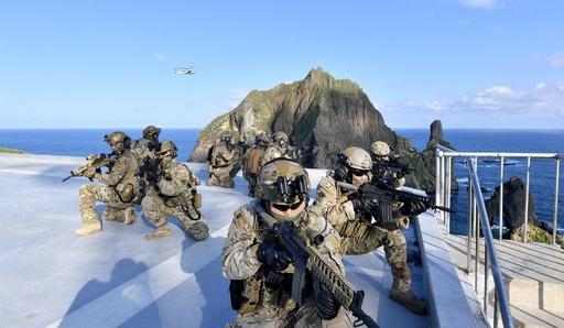韓国軍、竹島での「東海領土守護訓練」の写真公開 イージス艦も参加