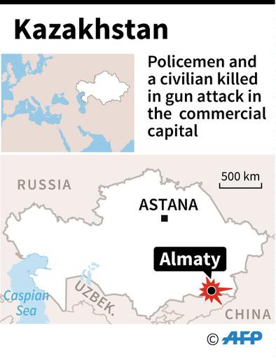 カザフ最大都市、襲撃で警官ら5人死亡、2人逮捕 大統領「テロ」