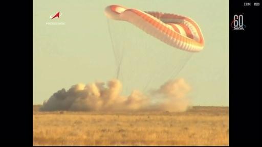動画:米ロ宇宙飛行士ら3人が地球に帰還、6か月の任務終え