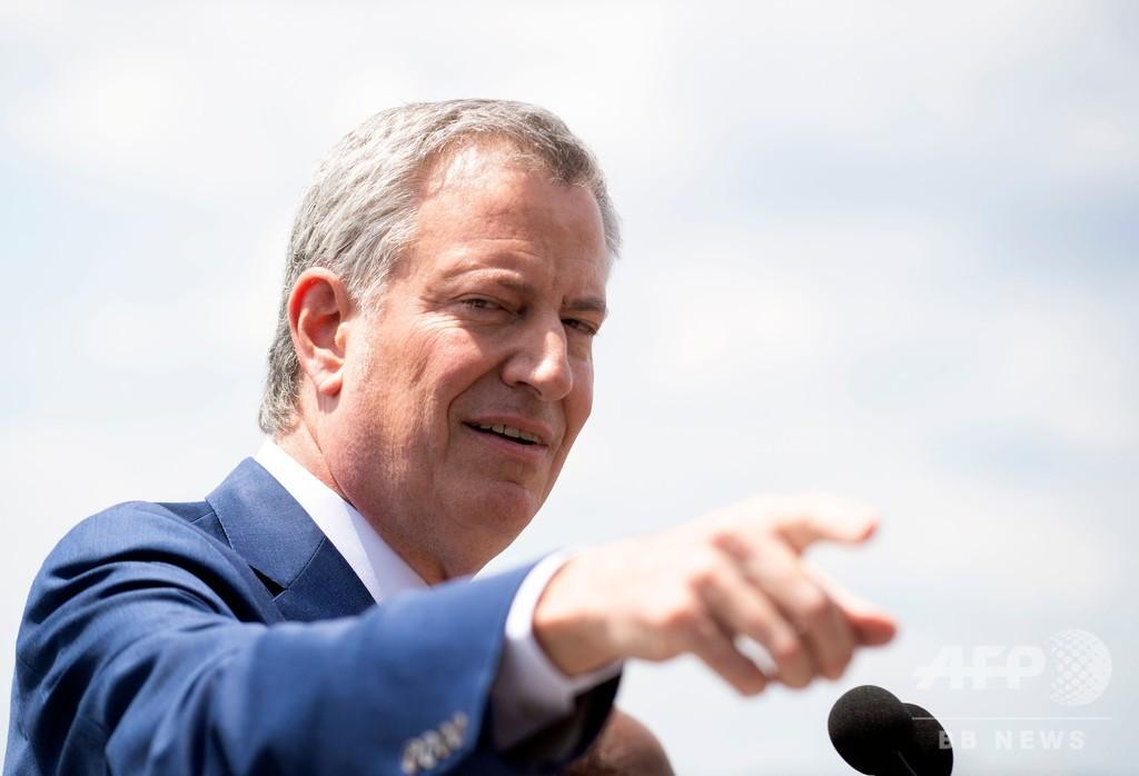 NYデブラシオ市長、20年大統領選出馬表明 打倒トランプ前面に