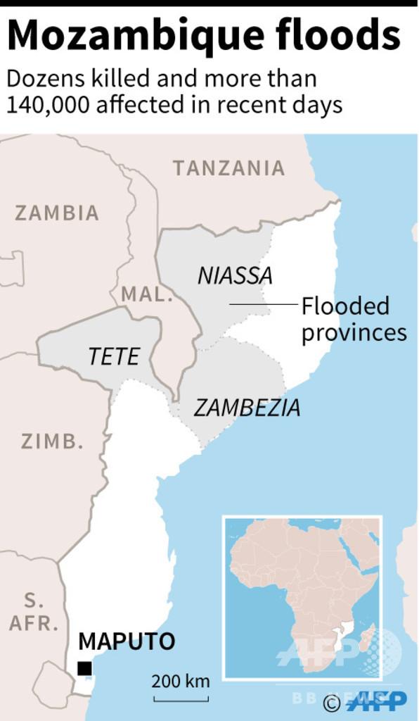モザンビークで洪水、66人が死亡 隣国のマラウイでも45人死亡