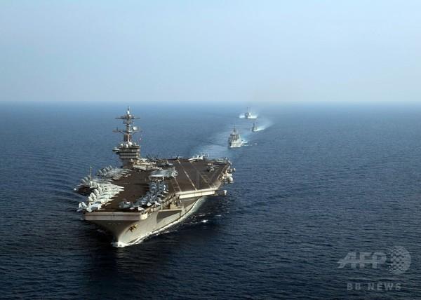 南シナ海で米空母が軍事演習、フィリピン寄港前に