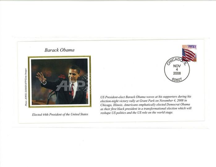 オバマ氏の大統領選勝利の記念封筒、AFPカメラマンの写真を採用
