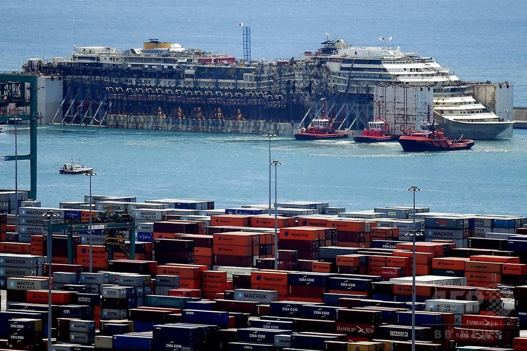 伊座礁船がジェノバの港に到着、解体作業開始へ