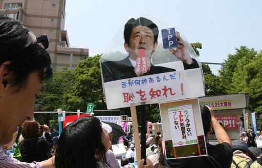 安倍首相に「恥を知れ」、都内で反TPPデモ