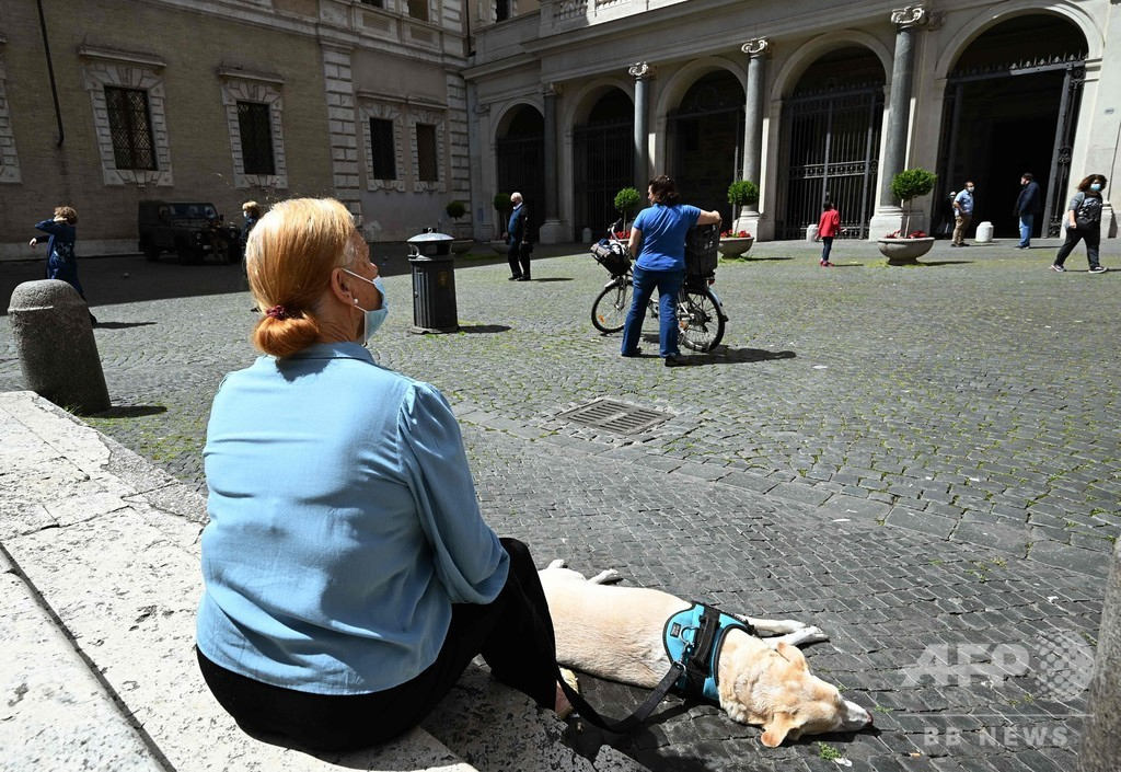イタリア1日のコロナ死者数、全土封鎖以降最少に