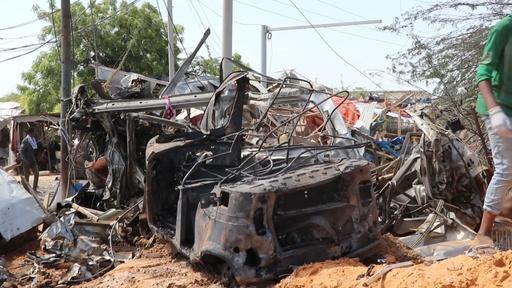 動画:ソマリア首都で自動車爆弾が爆発、79人死亡 約100人負傷