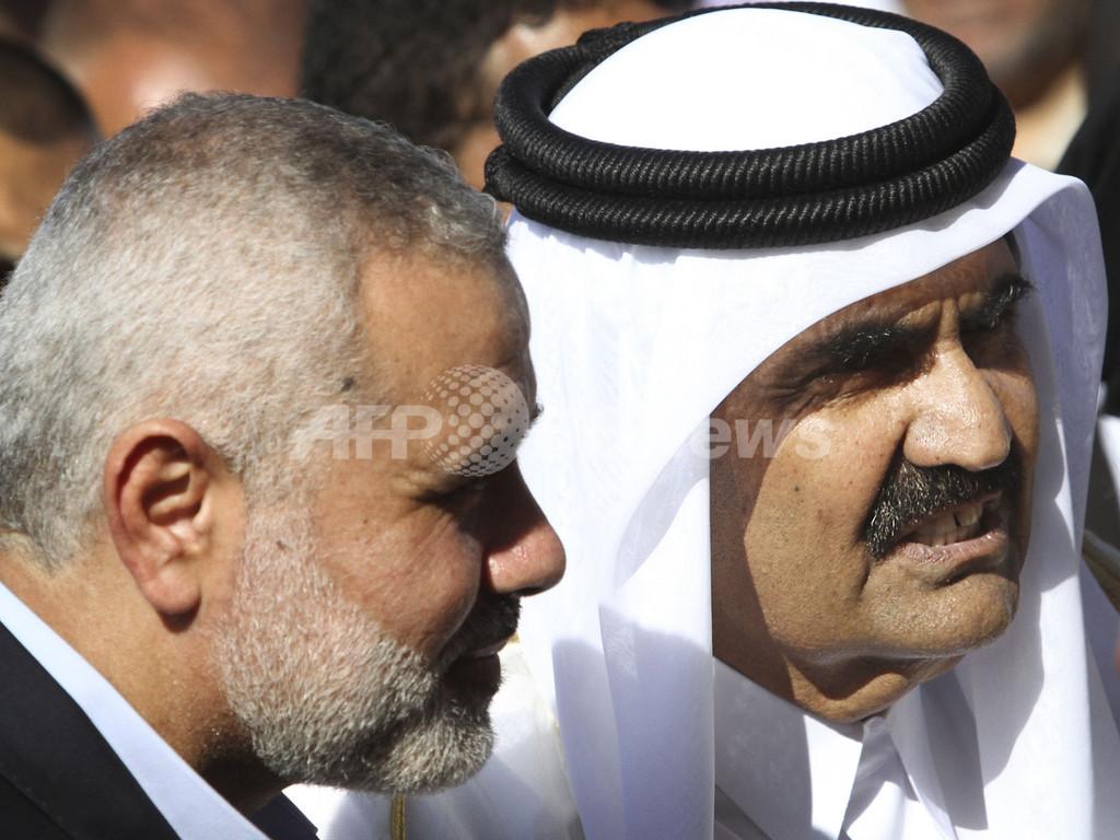 カタールの首長がガザ地区訪問、ハマスとファタハに和解呼び掛け