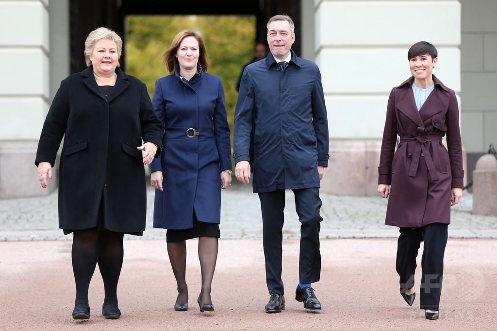ノルウェー内閣改造、「政権トップ3」が女性に