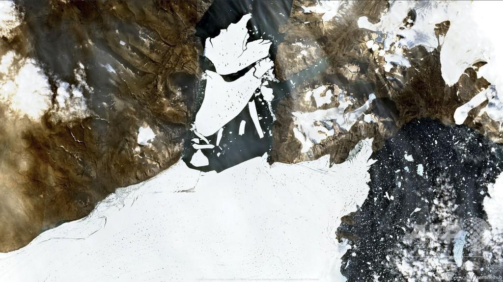 「パリ1個分」の氷塊分離、北極圏最大の氷棚で観測 グリーンランド