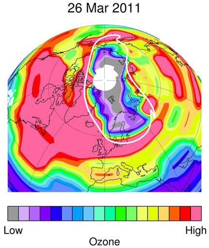 北極上空で南極並みのオゾン層破壊観測