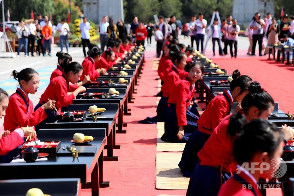 千人で味わう「漢式の宴」 中国・河南