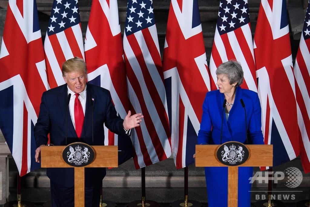 米英首脳が会談 トランプ氏「素晴らしい」貿易協定を明言