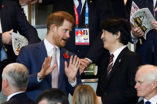 英ヘンリー王子、ラグビーW杯決勝を観戦 秋篠宮ご夫妻と談笑
