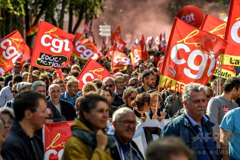 フランスで改正労働法に反対する初の大規模抗議行動、労組発表で40万人