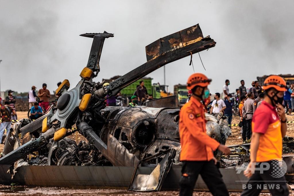 インドネシア軍ヘリ、飛行訓練中に墜落 兵士4人死亡5人負傷