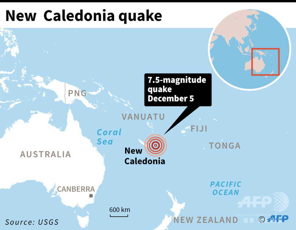 ニューカレドニア沖でM7.5の地震、72センチの津波観測