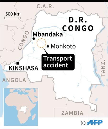 川を航行中のボート沈没、50人死亡 コンゴ民主共和国