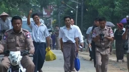 動画:ミャンマー、ロイター記者2人を釈放 大統領恩赦で一転